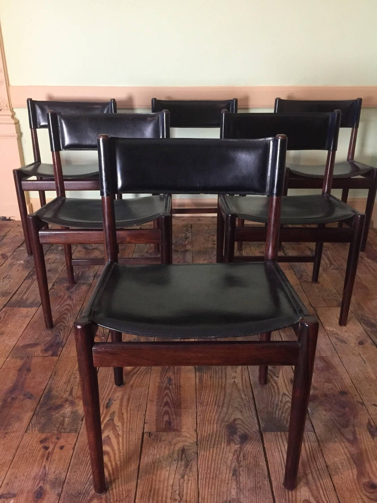 Mid-20th Century Set of Six Chairs in Rosewood by Arne Vodder for Sibast, 1960 For Sale