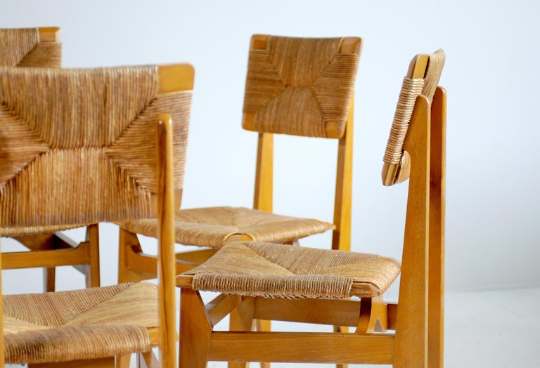 Set of 6 Chairs Model C Marcel Gascoin, France, 1950 For Sale 4