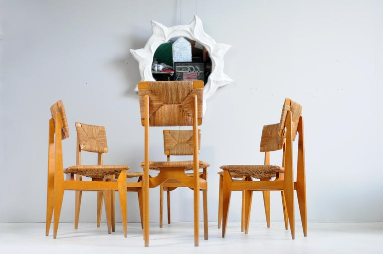 Set of 6 Chairs Model C Marcel Gascoin, France, 1950 For Sale 5