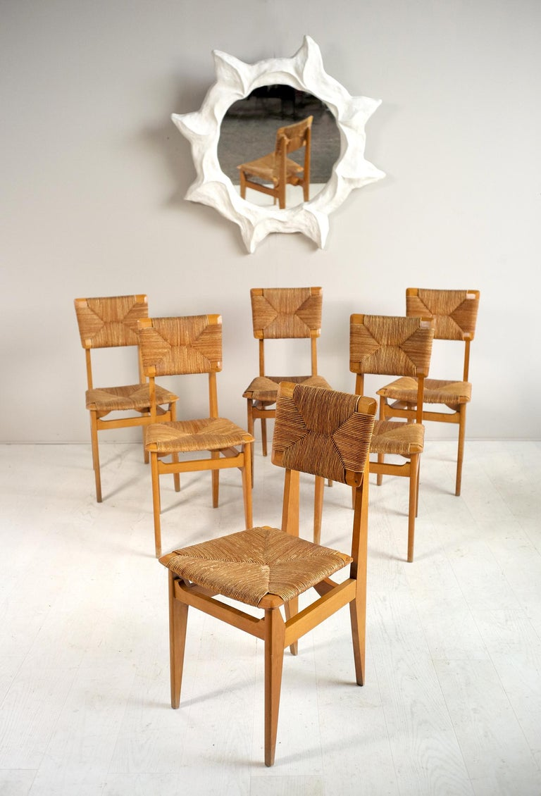 Set of 6 chairs model C Marcel Gascoin, French reconstruction, 1950. Rare straw version with chamfered back and seat, structure in varnished Beech.