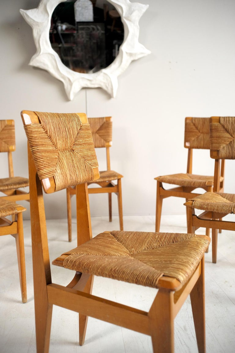 Mid-Century Modern Set of 6 Chairs Model C Marcel Gascoin, France, 1950 For Sale
