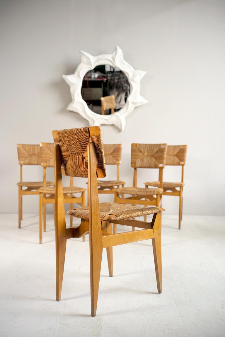 French Set of 6 Chairs Model C Marcel Gascoin, France, 1950 For Sale