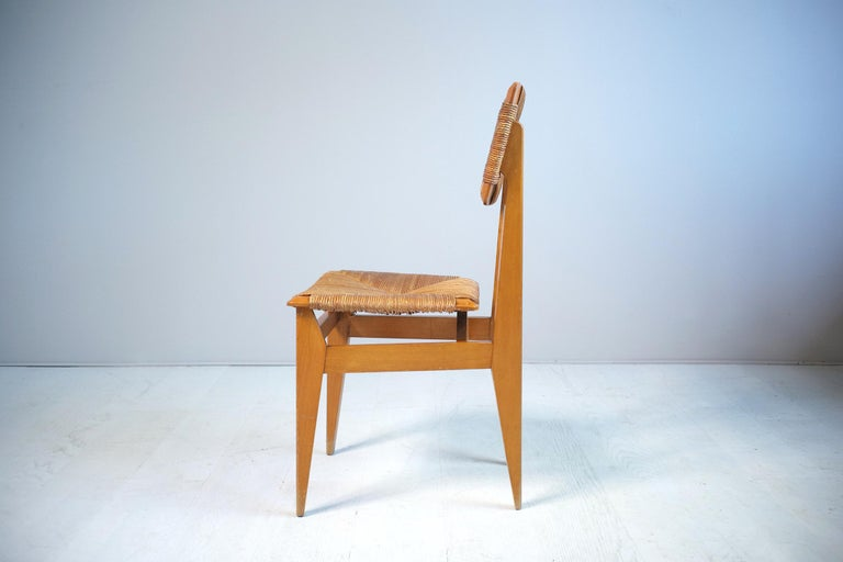 Mid-20th Century Set of 6 Chairs Model C Marcel Gascoin, France, 1950 For Sale