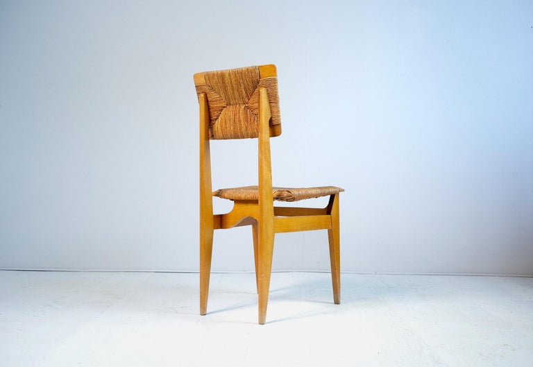 Straw Set of 6 Chairs Model C Marcel Gascoin, France, 1950 For Sale