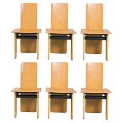 Set of 6 Chairs, Oak Wood, by Carlo Scarpa / Gavina, 1974