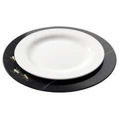 Set of 6 Charger Plates in Black Marquinia with Brass Inlay by Pieruga Marble