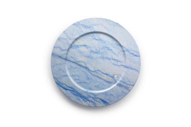 Italian Set of 6 Charger Plates in Blue Azul Macaubas Design by Pieruga Marble, Italy For Sale