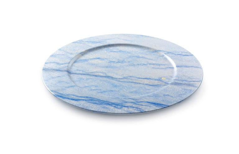 Set of 6 Charger Plates in Blue Azul Macaubas Design by Pieruga Marble, Italy In New Condition For Sale In Ancona, Marche