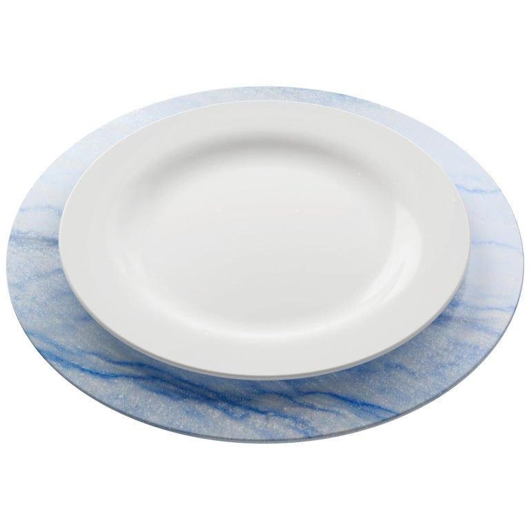 Set of 6 Charger Plates in Blue Azul Macaubas Design by Pieruga Marble, Italy For Sale