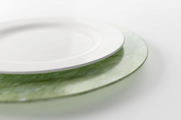 Hand-Carved Set of 6 Charger Plates in Green Ming Marble Design by Pieruga Marble, Italy For Sale