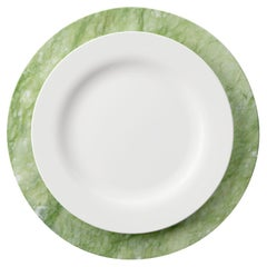 Set of 6 Charger Plates in Green Ming Marble Design by Pieruga Marble, Italy