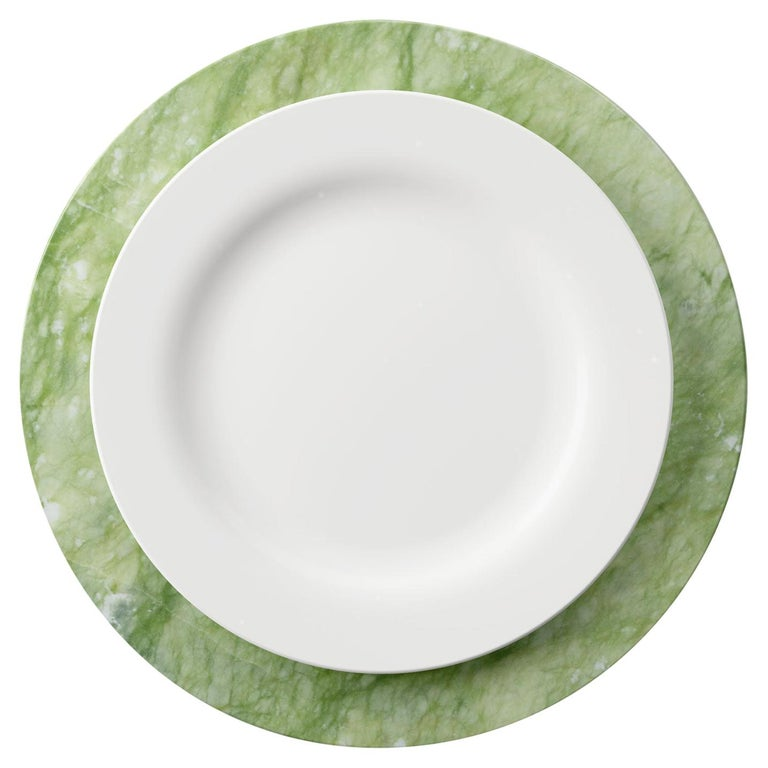 Set of 6 Charger Plates in Green Ming Marble Design by Pieruga Marble, Italy For Sale