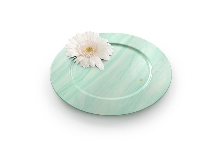 Italian Set of 6 Charger Plates in Green Quartzite Design by Pieruga Marble, Italy For Sale