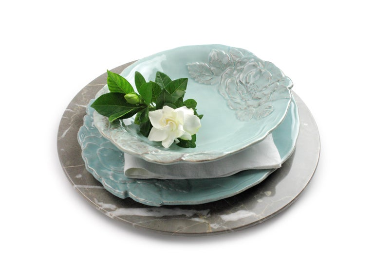 Set of 6 Charger Plates in Imperial Grey Marble Design Pieruga Marble, Italy For Sale 6