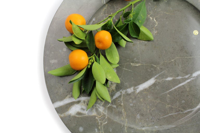 Set of 6 Charger Plates in Imperial Grey Marble Design Pieruga Marble, Italy For Sale 12
