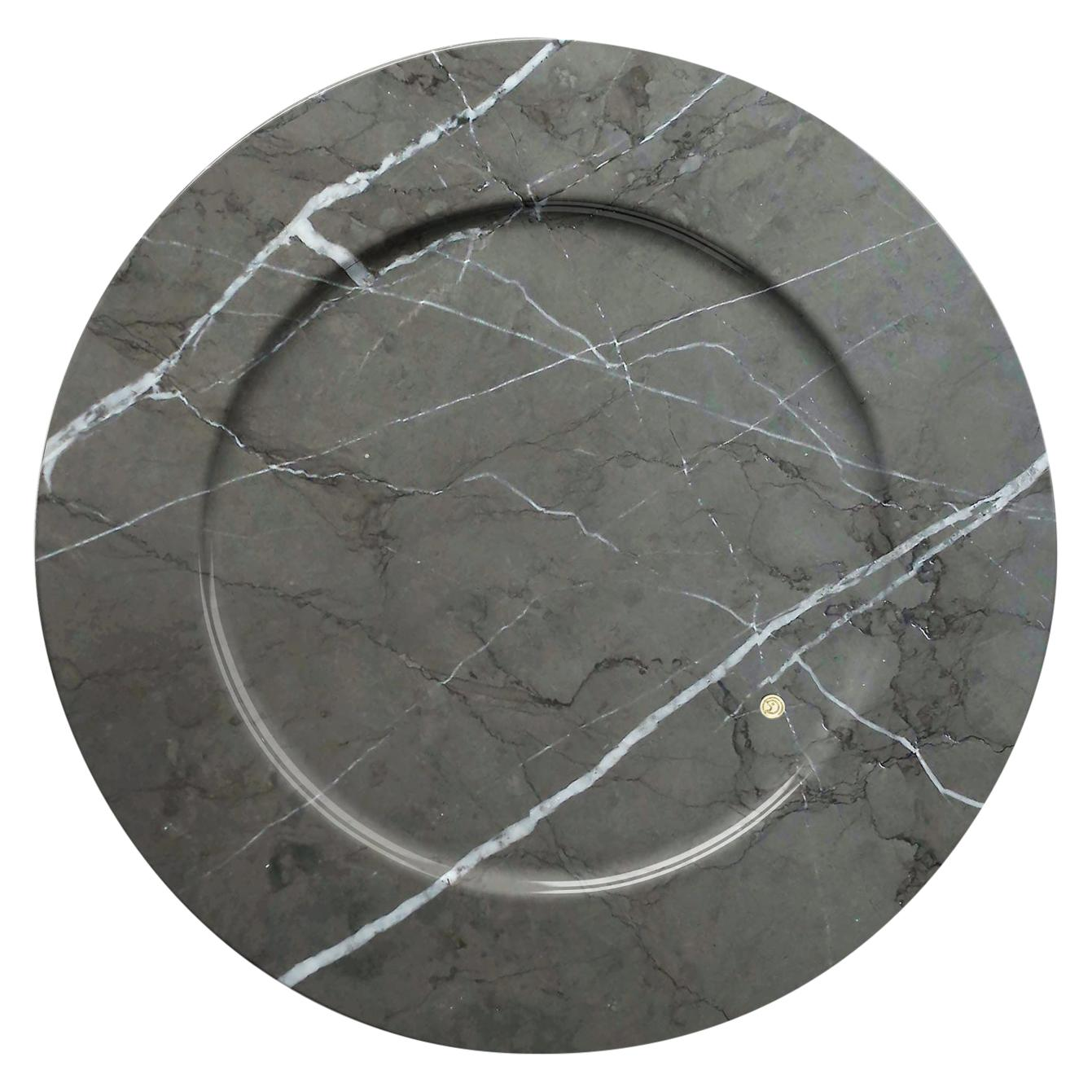 Set of 6 Charger Plates in Imperial Grey Marble Design Pieruga Marble, Italy