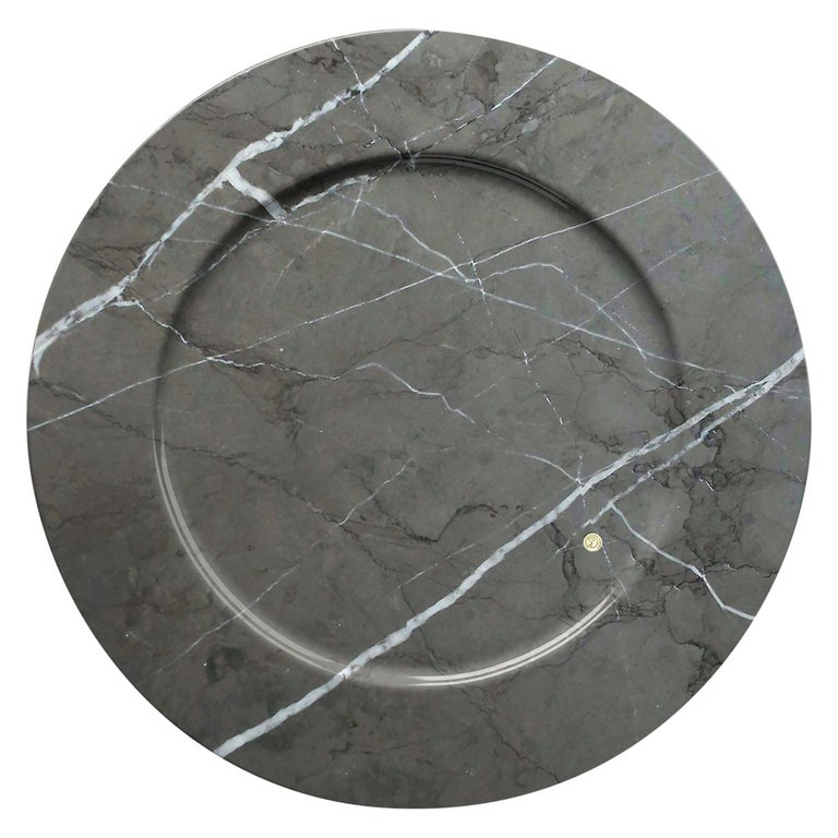 Set of 6 Charger Plates in Imperial Grey Marble Design Pieruga Marble, Italy For Sale