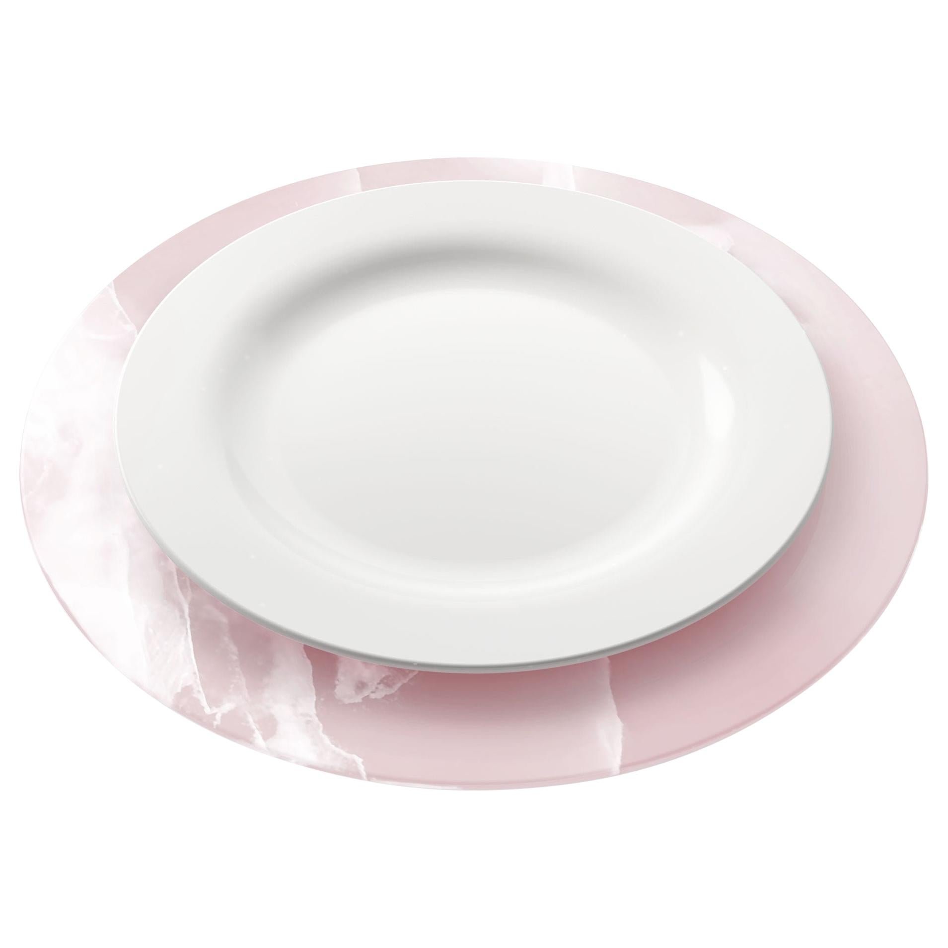 Set of 6 Charger Plates in Solid Pink Onyx Design by Pieruga Marble, Italy