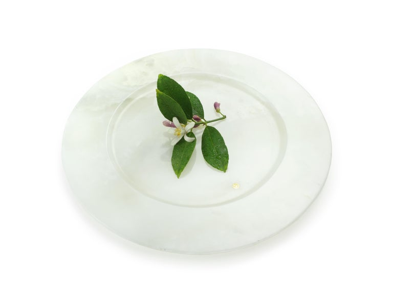 Modern Set of 6 Charger Plates in Solid White Onyx Design by Pieruga Marble, Italy For Sale