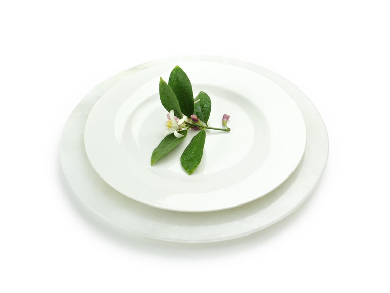 Hand-Carved Set of 6 Charger Plates in Solid White Onyx Design by Pieruga Marble, Italy For Sale