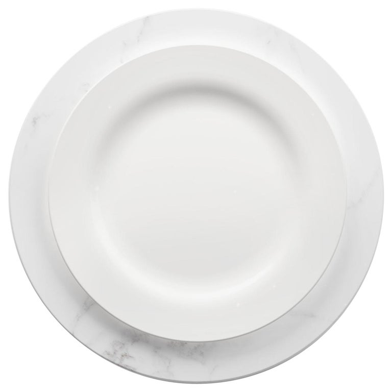 Set of 6 Charger Plates in White Statuary Marble Design by Pieruga Marble For Sale