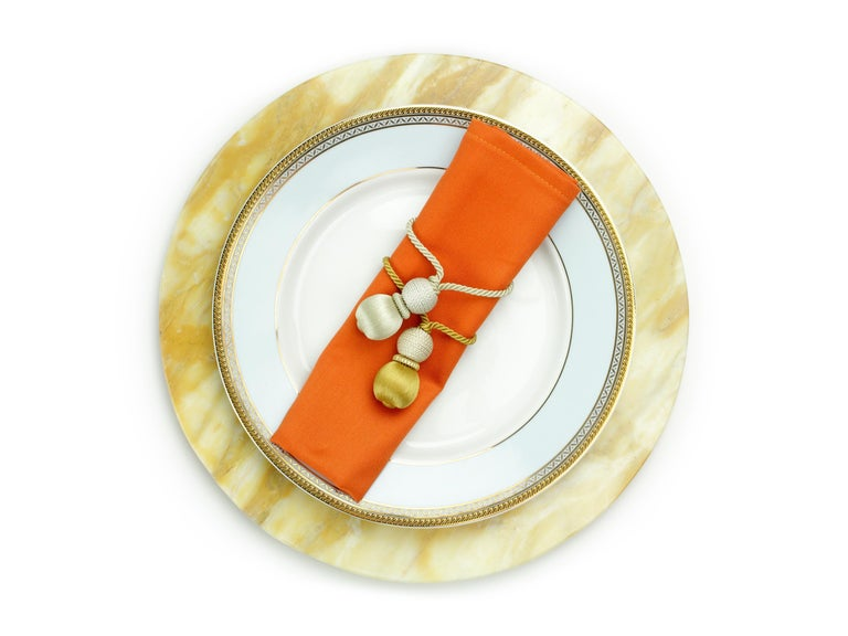 Hand-Carved Set of 6 Charger Plates in Yellow Siena Marble Design by Pieruga Marble For Sale