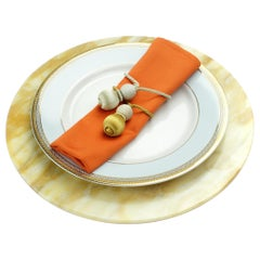 Set of 6 Charger Plates in Yellow Siena Marble Design by Pieruga Marble