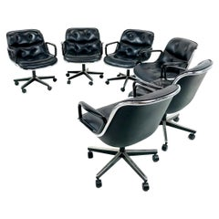 Set of 6 Charles Pollock for Knoll Office Chairs