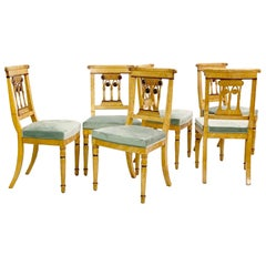 Set of 6 Charles X Speckled Maple Dining Chairs
