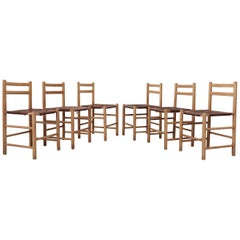 Set of 6 Charlotte Perriand Style Pine and Leather Dining Chairs