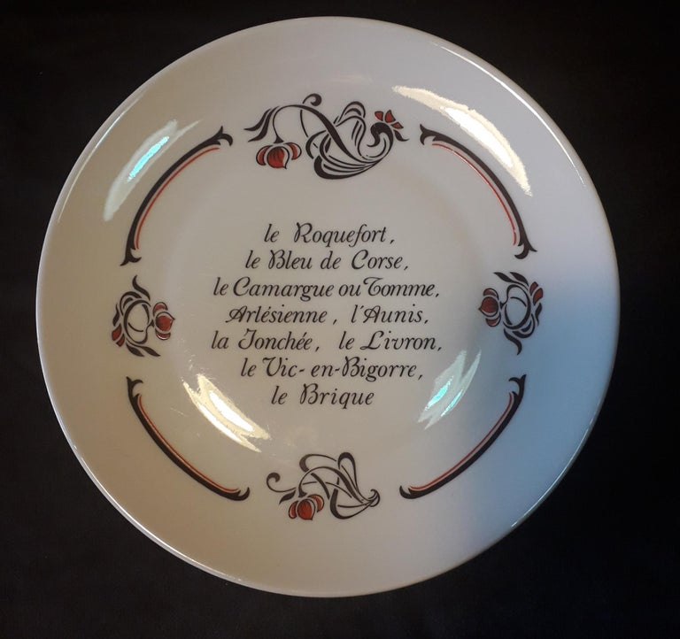 Mid-Century Modern Set of 6 Cheese Plates, Porcelaine de Limoges, France