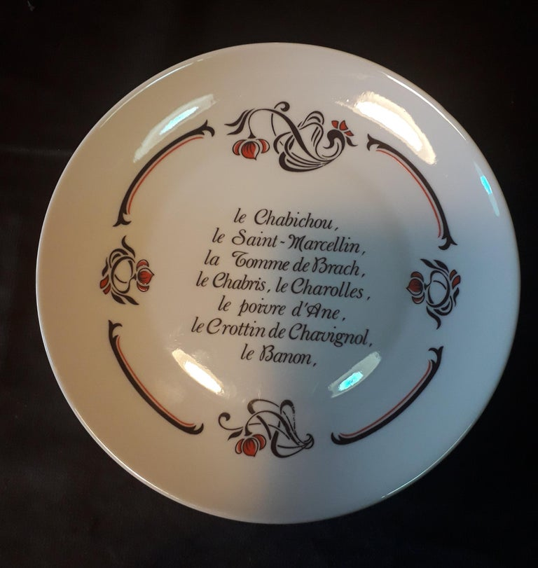 French Set of 6 Cheese Plates, Porcelaine de Limoges, France