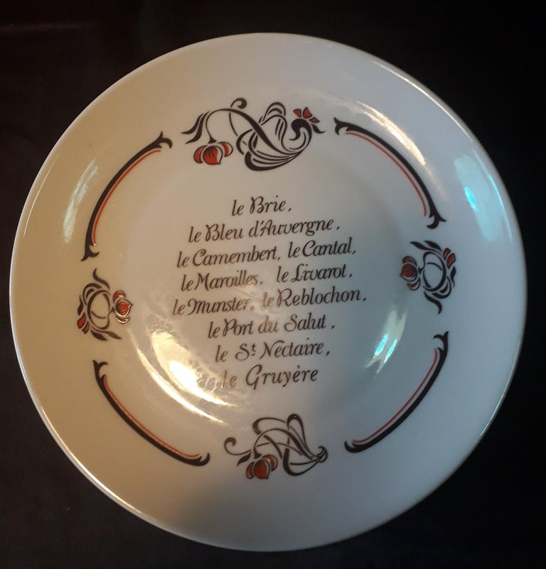 Hand-Painted Set of 6 Cheese Plates, Porcelaine de Limoges, France