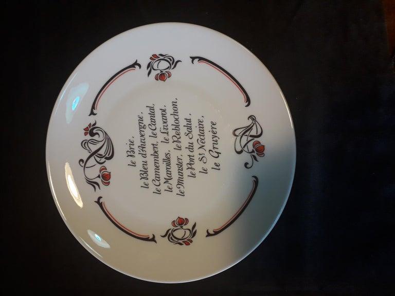 20th Century Set of 6 Cheese Plates, Porcelaine de Limoges, France