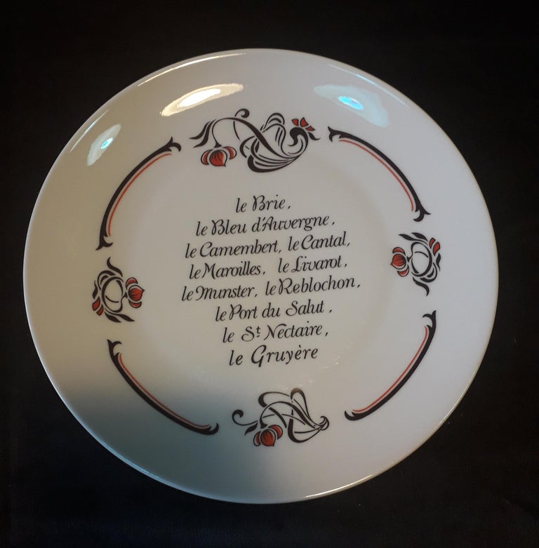 Set of 6 Cheese Plates, Porcelaine de Limoges, France 1