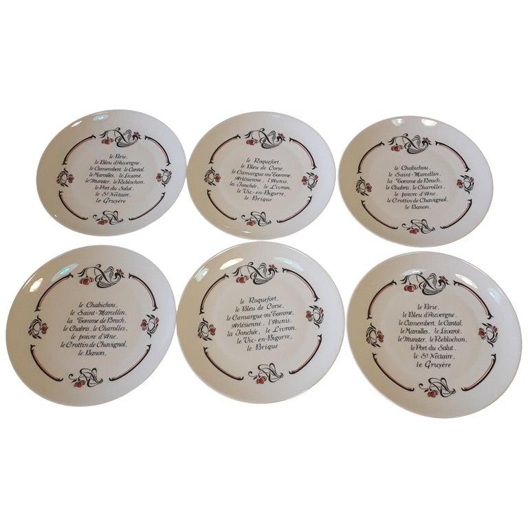 Set of 6 Cheese Plates, Porcelaine de Limoges, France