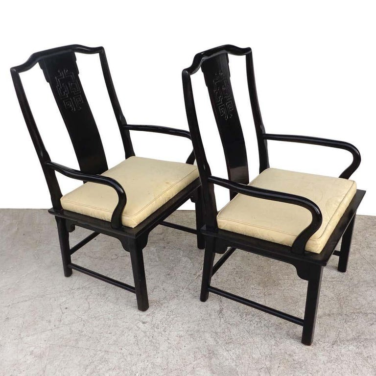 Chin Hua dining chairs by Raymond Sabota for Century Furniture Company  Set of 6 dining chairs by Century Furniture. Part of the Chin Hua collection by Raymond Sabota. Lacquered in high gloss black.  Original seat upholstery.    Measures: Side