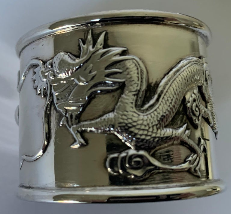 Mid-20th Century Set of 6 Chinese Export Silver Napkin Rings For Sale