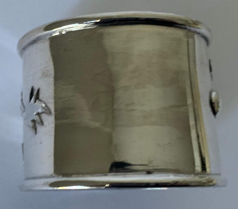 Silver Plate Set of 6 Chinese Export Silver Napkin Rings For Sale