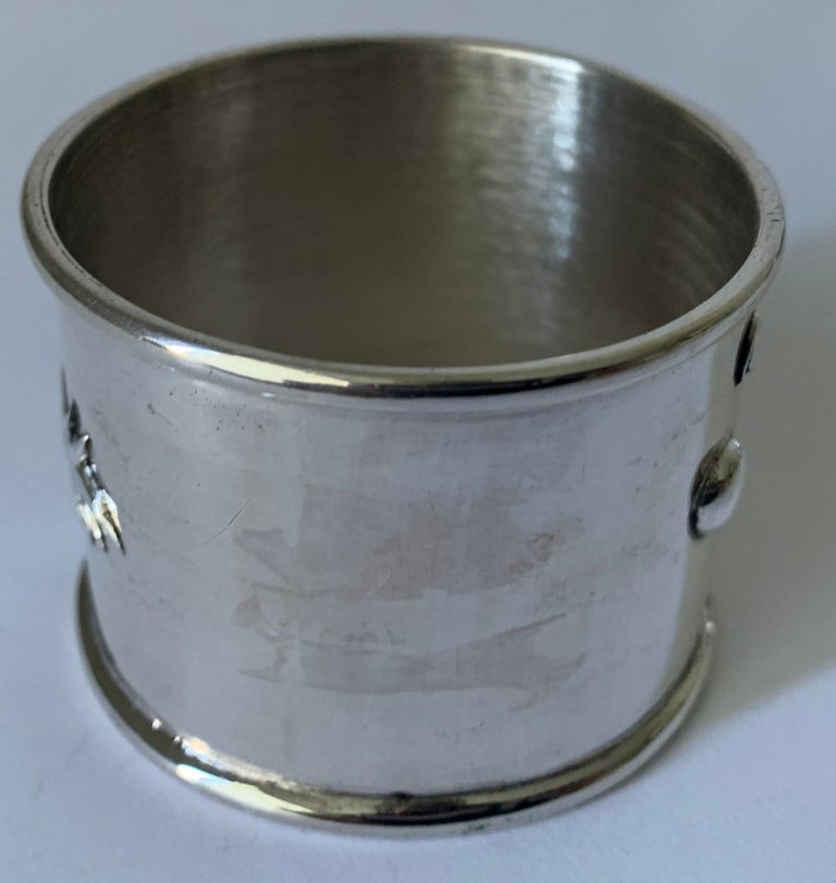 Set of 6 Chinese Export Silver Napkin Rings For Sale 3