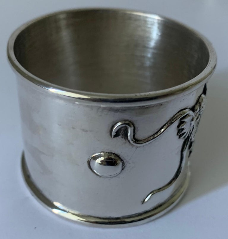 Set of 6 Chinese Export Silver Napkin Rings For Sale 4