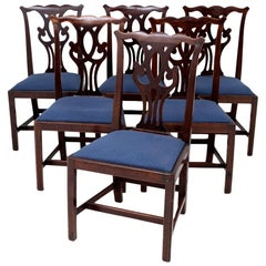 Set of 6 Chippendale Chairs in Walnut, circa 1900
