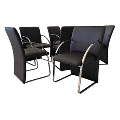 Set of 6 Chrome Dining Chairs by Rougier