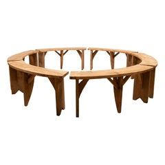 Set of 6 Circular Reclaimed Pine Benches, 20th Century