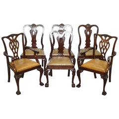 Set of 6 Claw and Ball Mahogany Thomas Chippendale Style Antique Dining Chairs