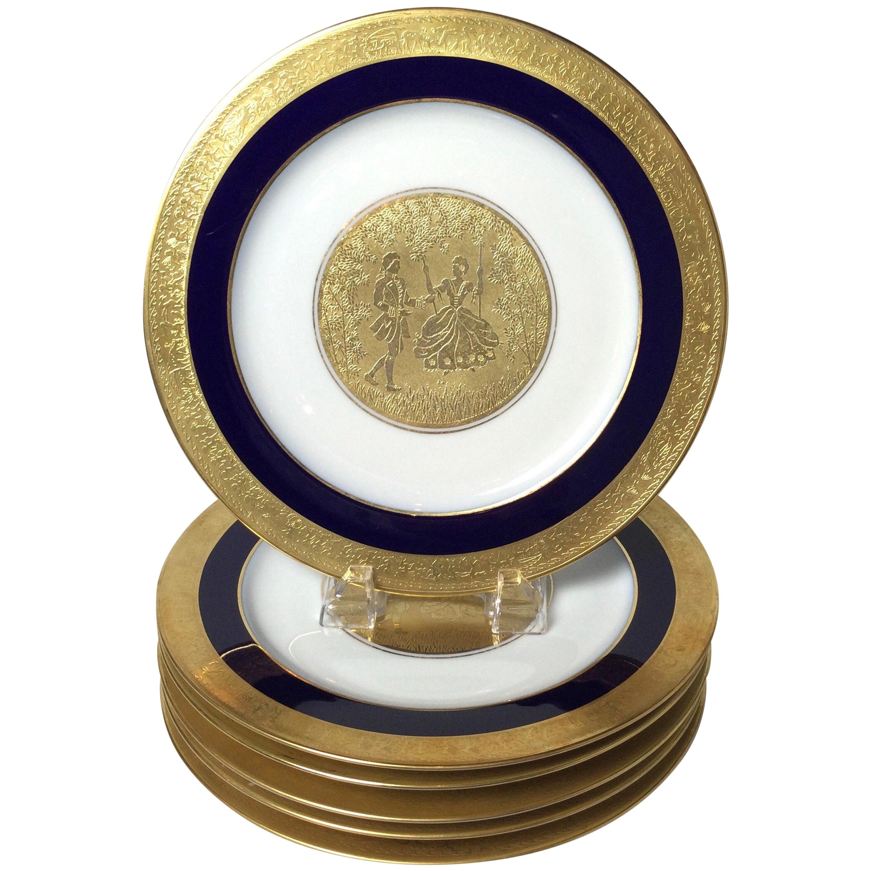 Set of 6 Cobalt Blue and Gold Encrusted Service Plates