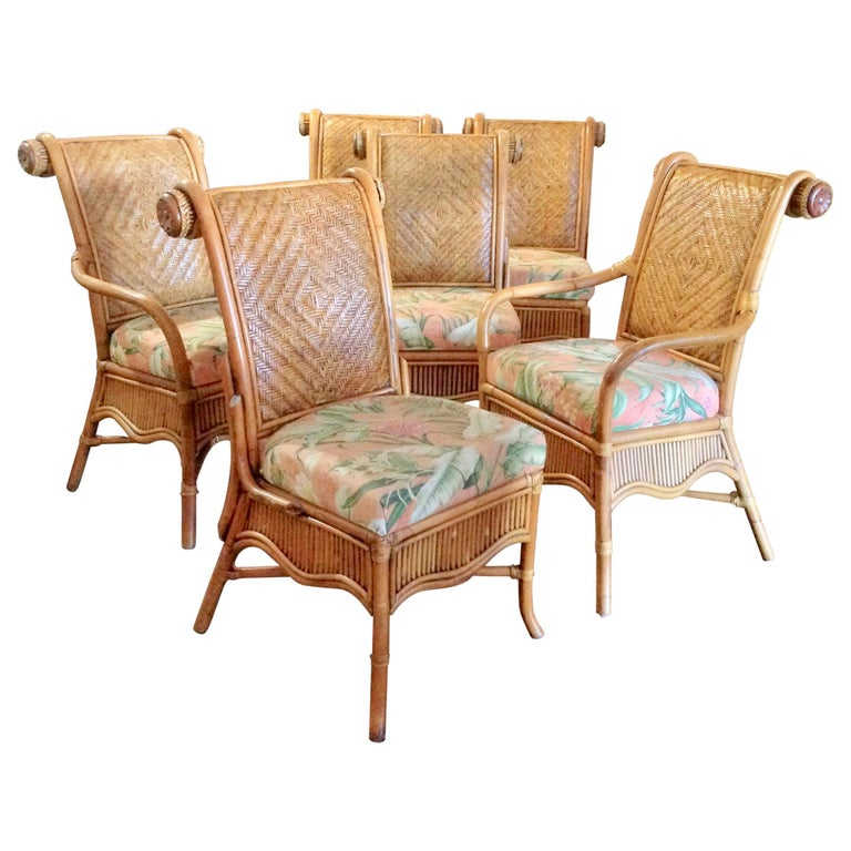 Strange Set Of 6 Colonial Style Rattan Dining Chairs Download Free Architecture Designs Rallybritishbridgeorg
