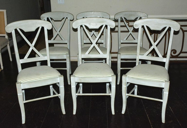 Set of 6 X-back painted dining chairs. Painted in the blue grey country Swedish Gustavian look. Measure: Seat height 19.25