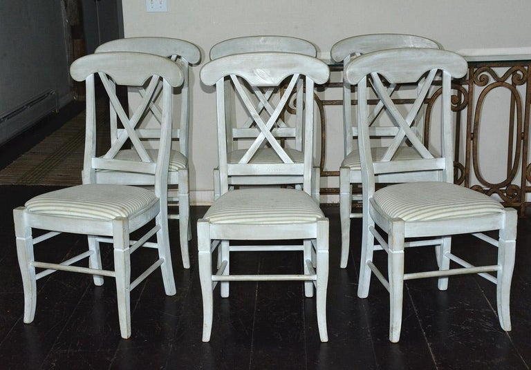 Country Set of 6 Contemporary Hand Painted Dining Chairs For Sale