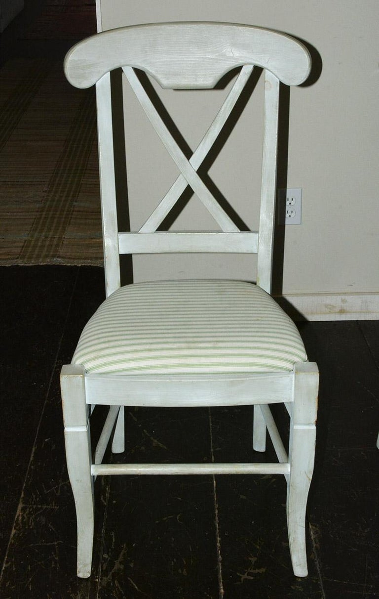 Dutch Set of 6 Contemporary Hand Painted Dining Chairs For Sale